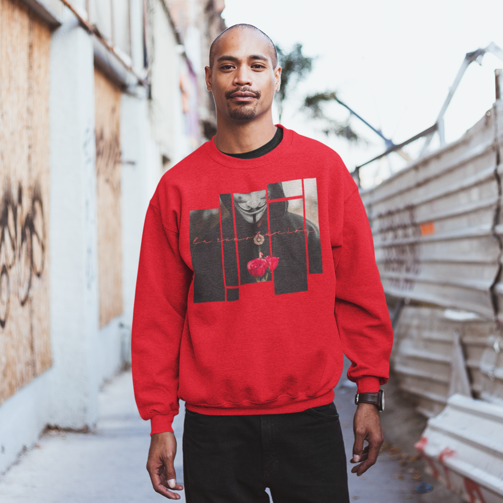 A-serious-guy-wearing-a-red-jalinca-la-revolucion-sweatshirt-in-an-alley-bb7499626257ba5ff89deaa06b48698